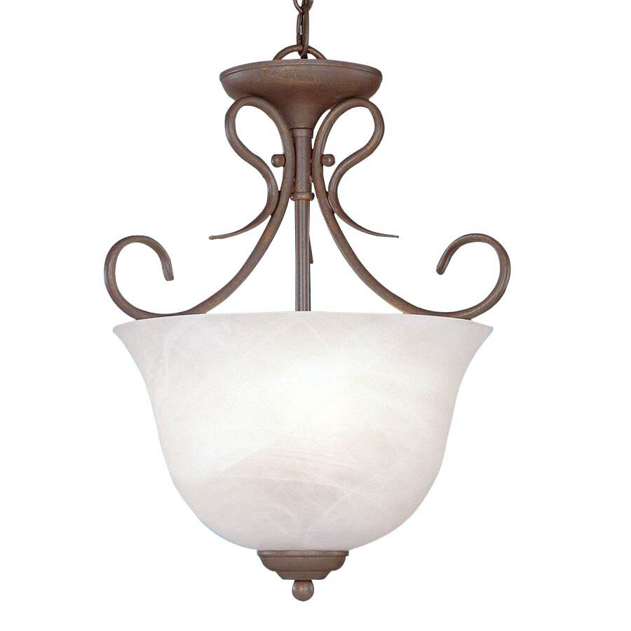 Millennium Lighting 13-in Bronze Vintage Single Alabaster Glass Urn Pendant