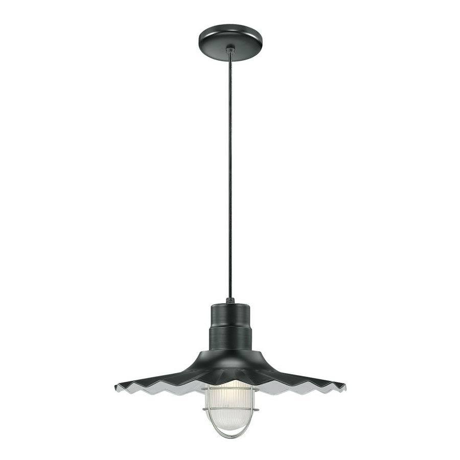 Millennium Lighting R Series 18-in Satin Black Country Cottage Single Etched Glass Warehouse Pendant