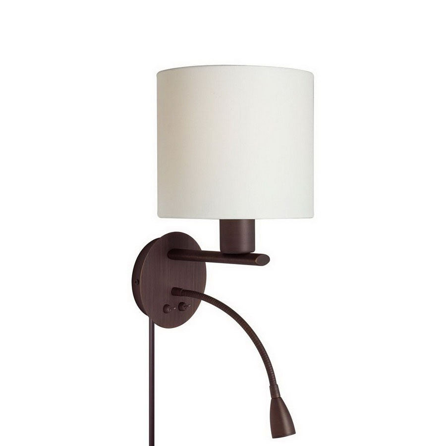 Shop Dainolite Lighting 9-in W 1-Light Oil Brushed Bronze Arm Hardwired/Plug-In Wall Sconce at ...