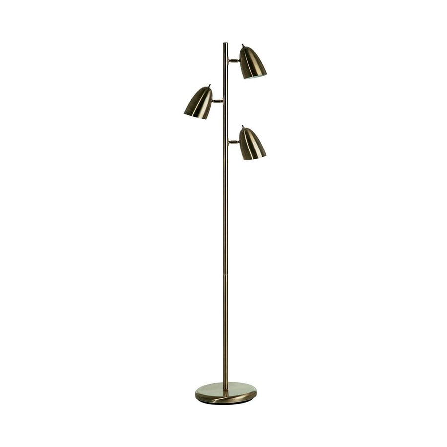 Shop dainolite lighting 64 in antique brass indoor floor for Vintage floor lamp with metal shade