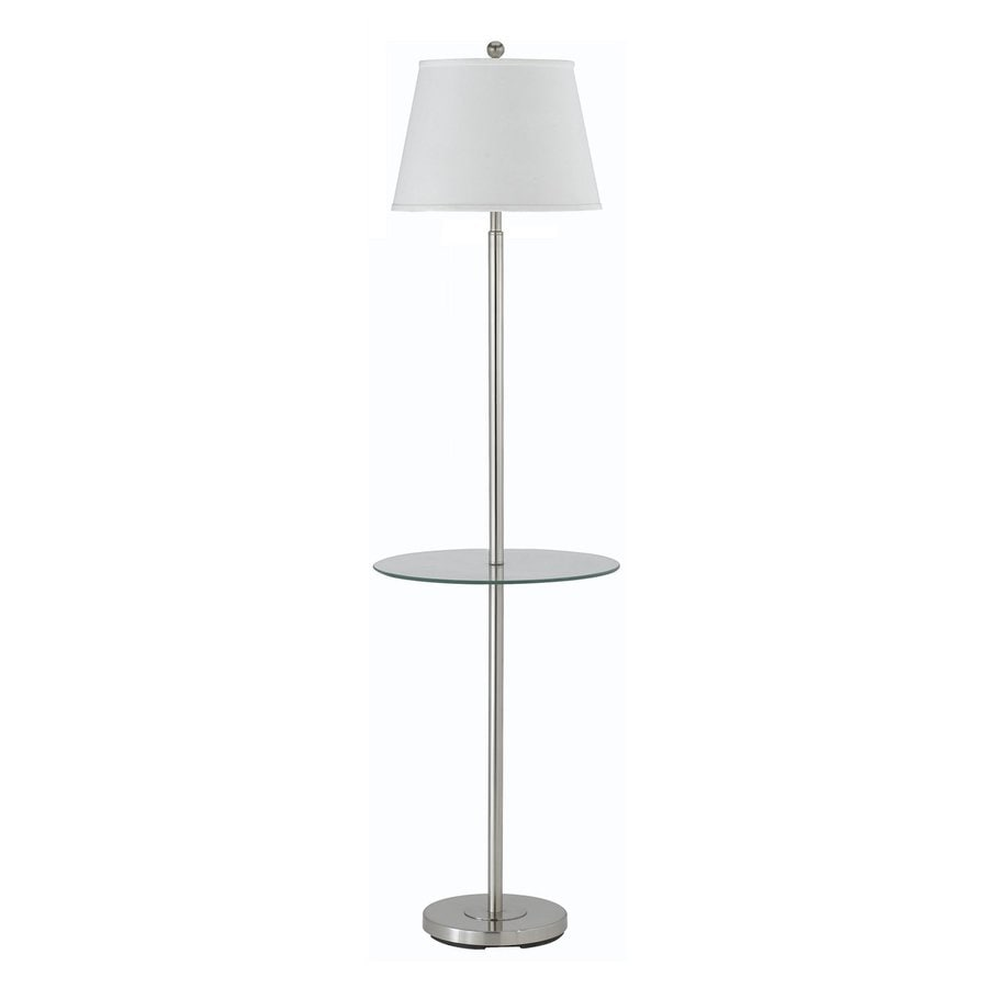 Shop cal lighting andros 60 in 3 way brushed steel indoor for Floor lamp with shelves lowes