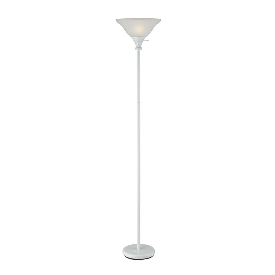 way white torchiere indoor floor lamp with glass shade at. Black Bedroom Furniture Sets. Home Design Ideas