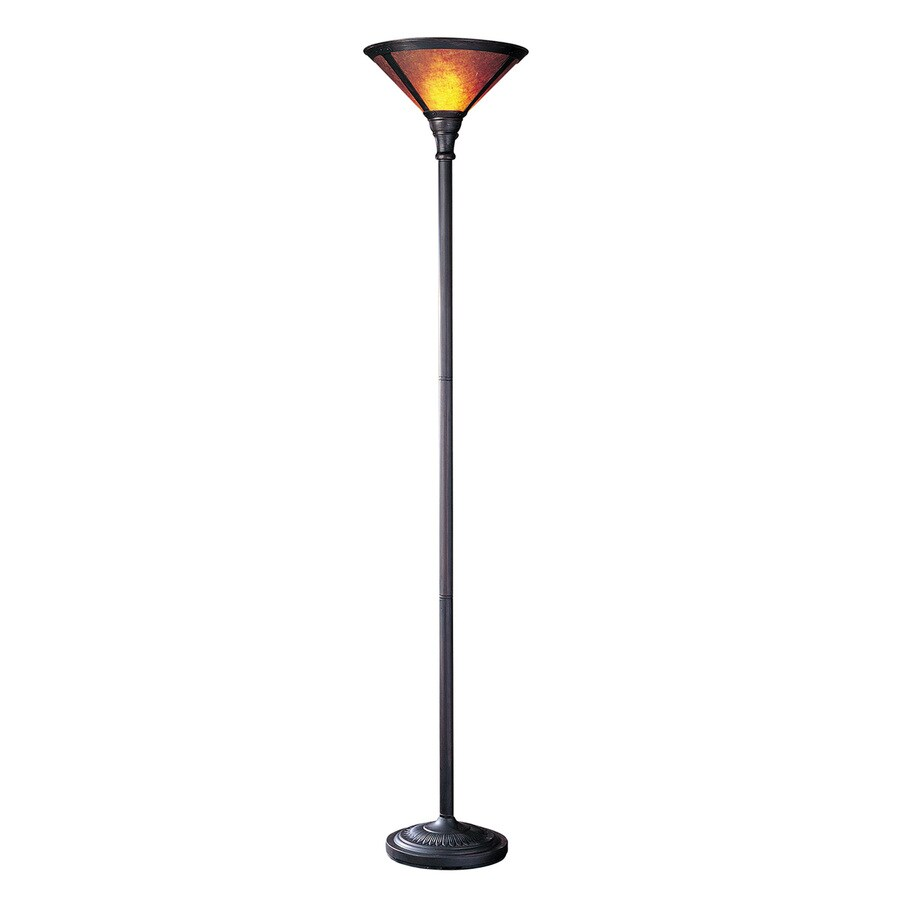 Cal Lighting San Gabriel 71-in 3-Way Rust Torchiere Indoor Floor Lamp with Mica Shade