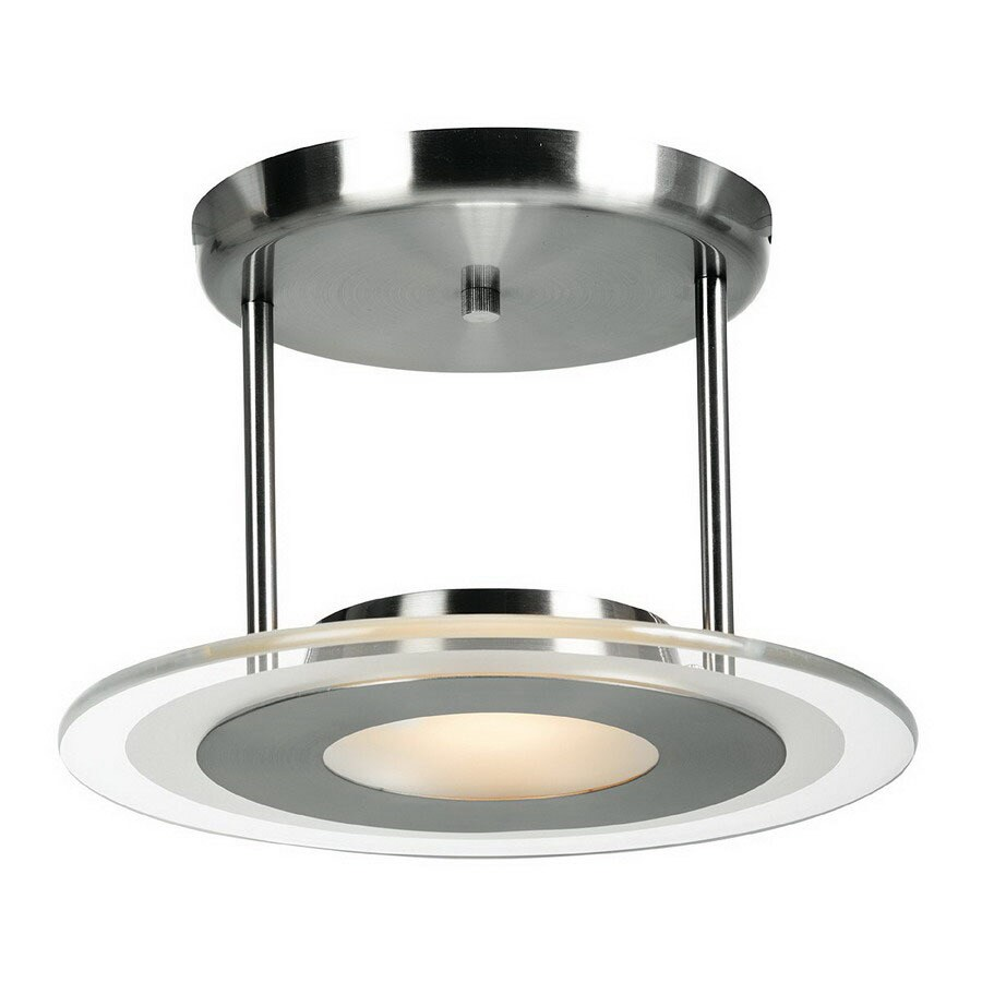 Access Lighting 12-in Brushed Steel Frosted Glass Semi-Flush Mount Light