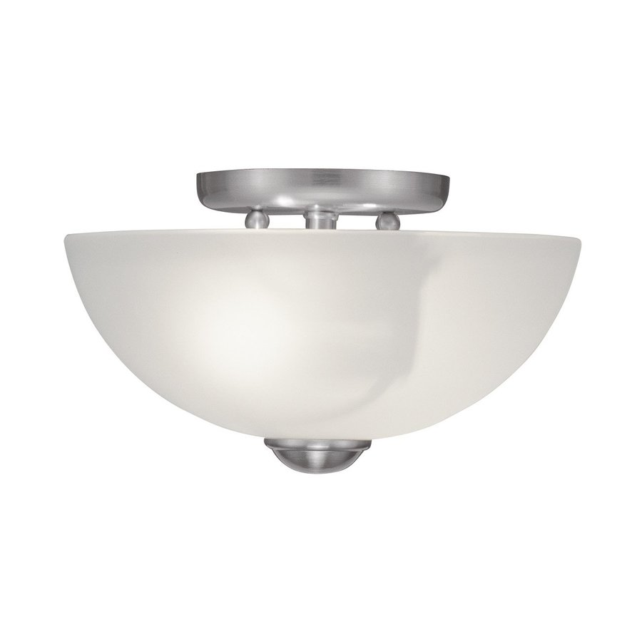 Livex Lighting Somerset 11-in W Brushed Nickel Semi-Flush Mount Light