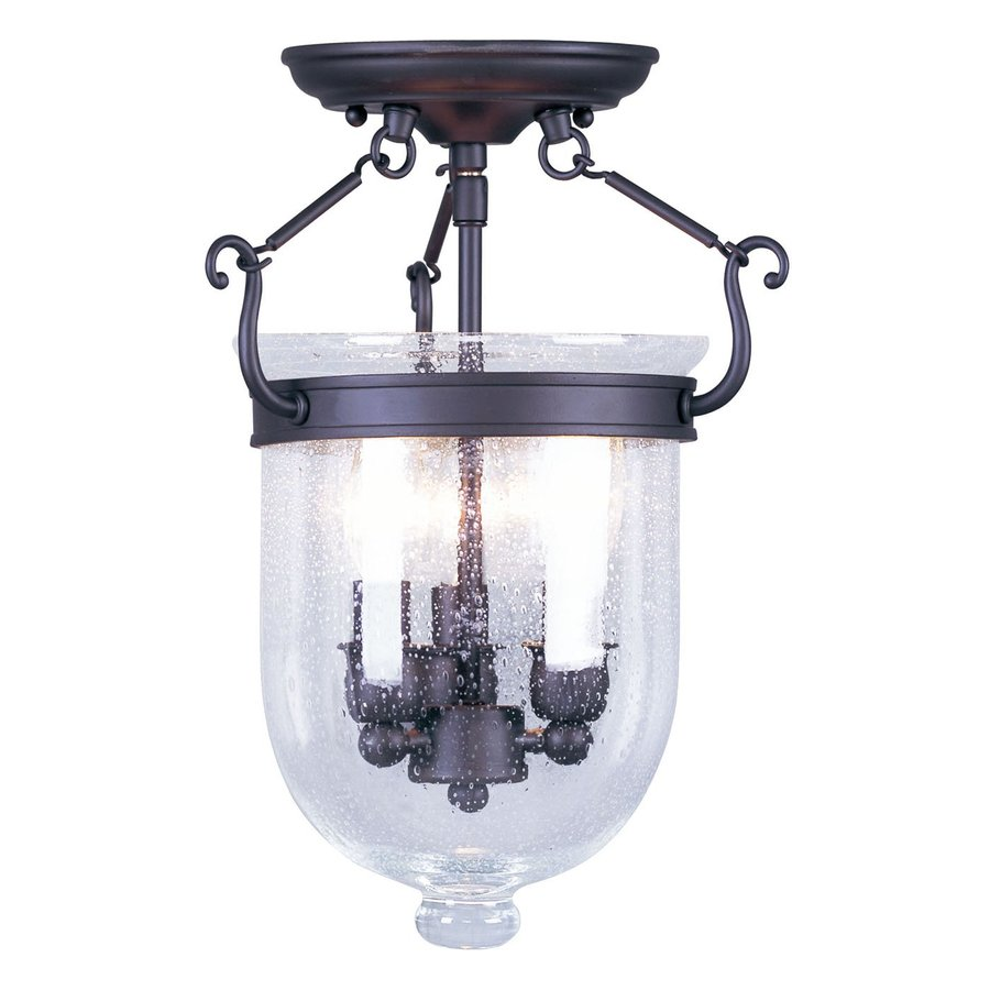 lighting jefferson 10 in w bronze semi flush mount light at