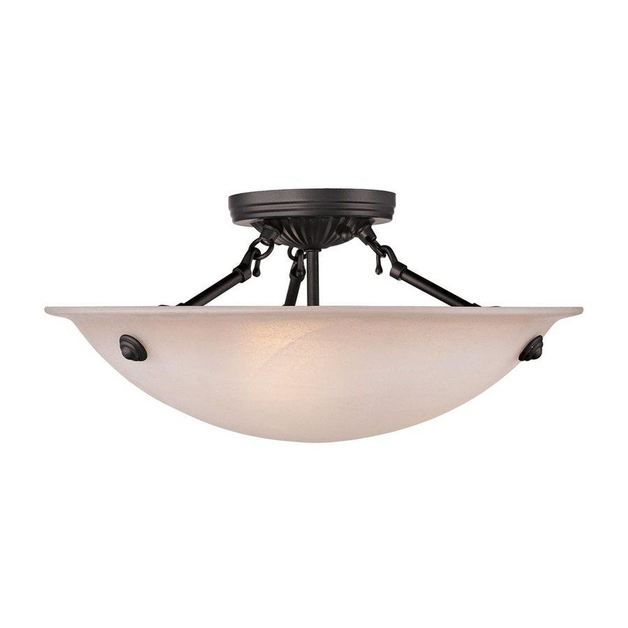 Shop livex lighting oasis 16 in w bronze semi flush mount Semi flush mount ceiling lights