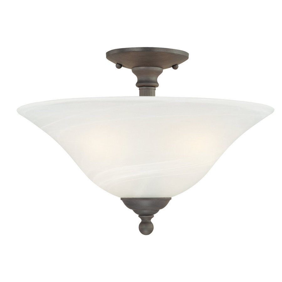 Thomas Lighting Riva 15.5-in W Painted Bronze Alabaster Glass Semi-Flush Mount Light