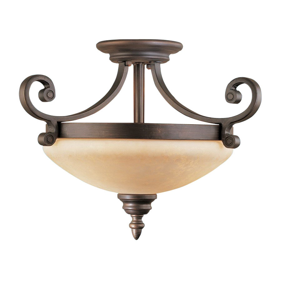 lighting 17 in w rubbed bronze semi flush mount light at