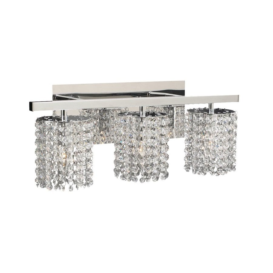 Three Light Bathroom Vanity Light: Shop PLC Lighting 3-Light Rigga Polished Chrome Crystal Standard Bathroom Vanity Light At Lowes.com