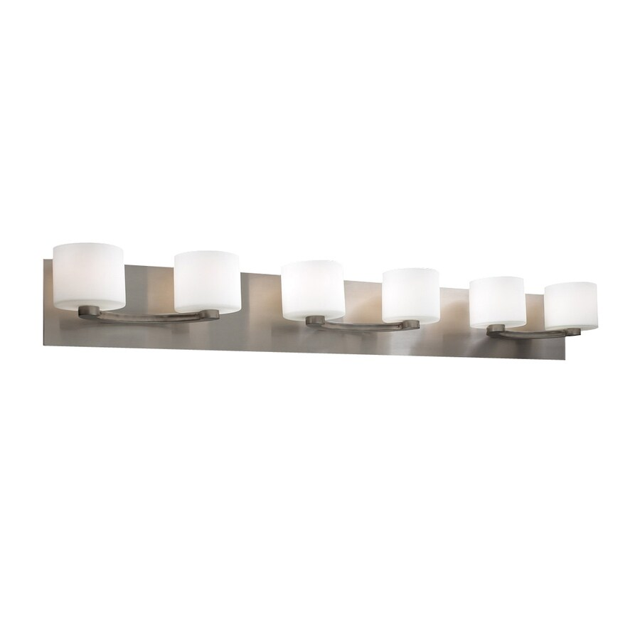 Shop Plc Lighting 6 Light De Lion Satin Nickel Standard Bathroom Vanity Light At