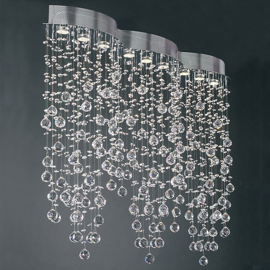 PLC Lighting Drizzle 10-in W 9-Light Polished Chrome Kitchen Island Light with Crystal Shade
