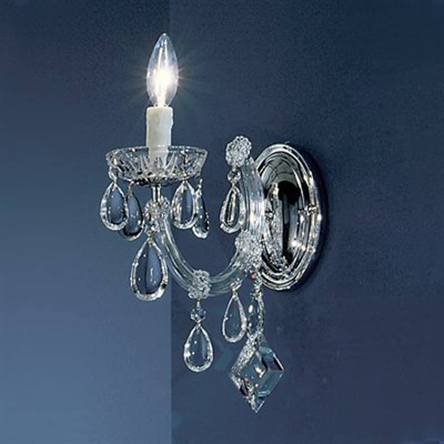 Classic Lighting Rialto Contemporary 5-in W 1-Light Chrome Crystal Arm Hardwired Wall Sconce