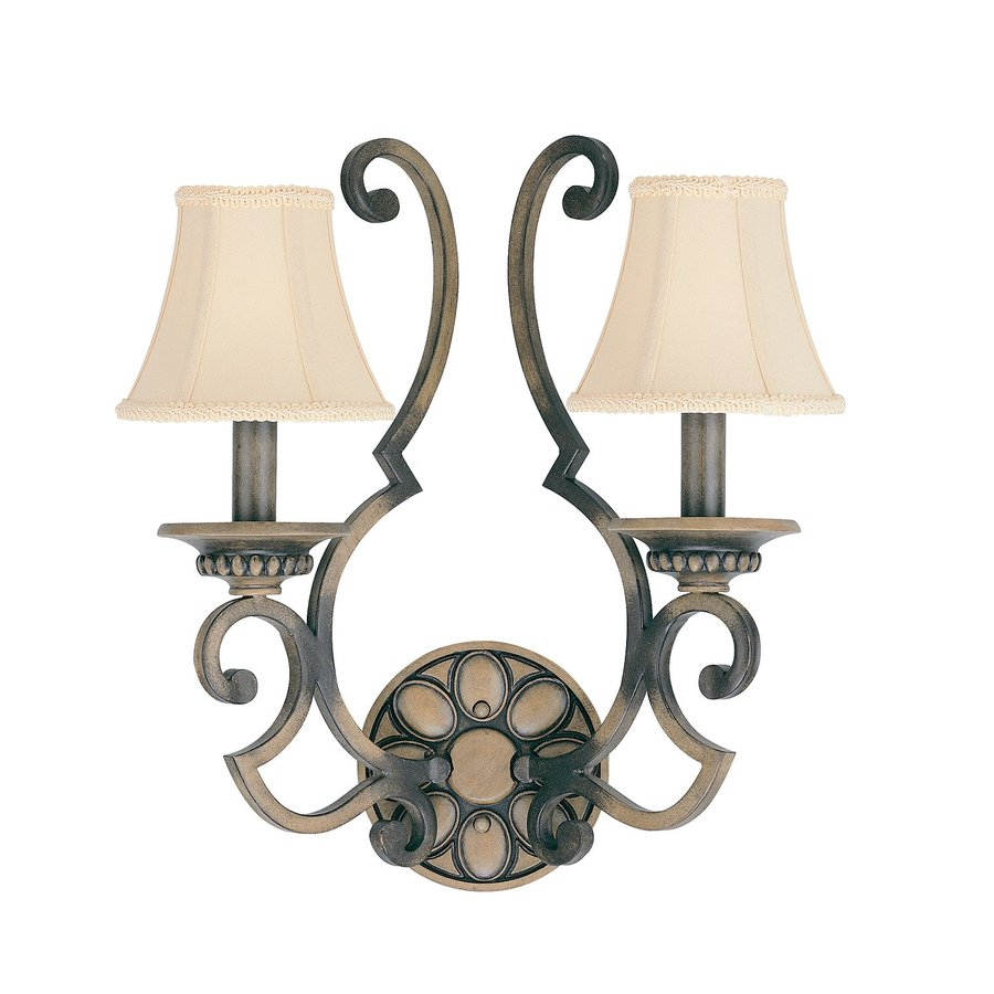 Classic Lighting Westchester 16-in W 2-Light Honey Rubbed Walnut Arm Hardwired Wall Sconce
