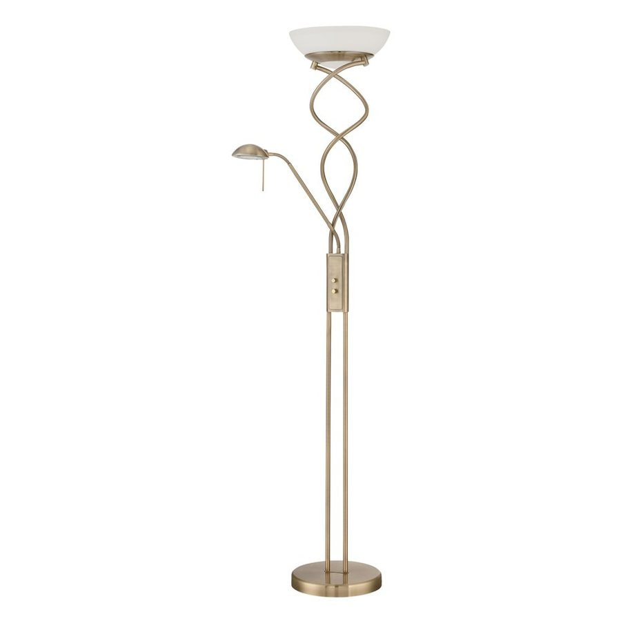 Kendal Lighting 72-in Antique Brass Torchiere with Side-Light Indoor Floor Lamp with Glass Shade