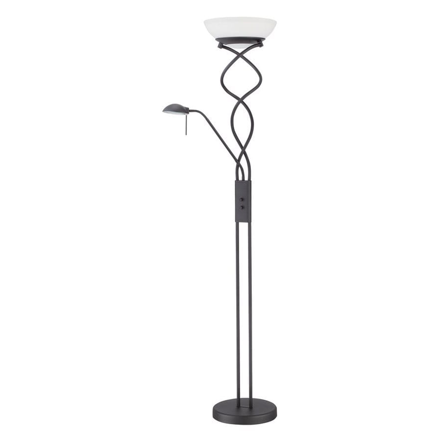 Kendal Lighting 72-in Black Torchiere with Side-Light Indoor Floor Lamp with Glass Shade