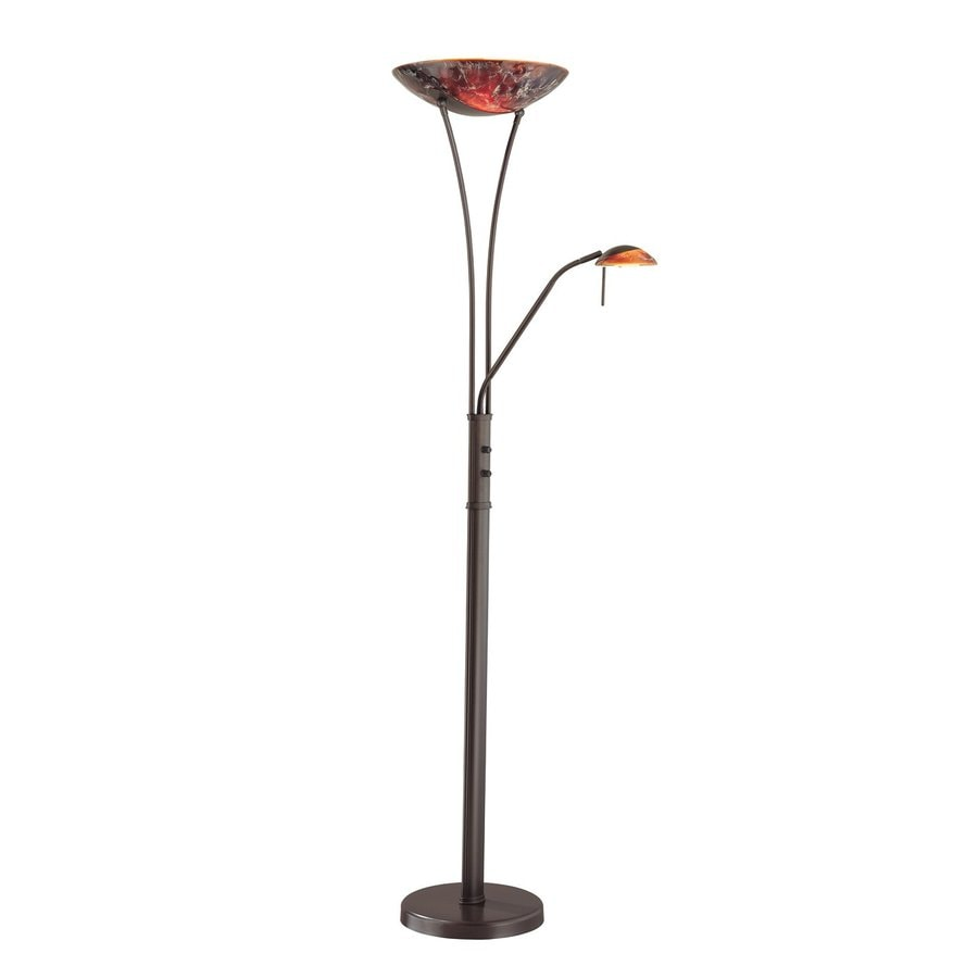 bronze torchiere with side light indoor floor lamp with glass shade. Black Bedroom Furniture Sets. Home Design Ideas