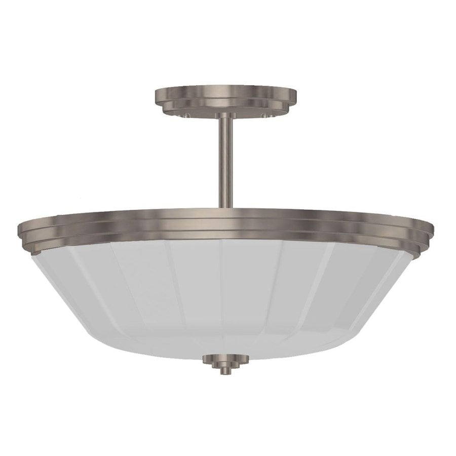 Artcraft Lighting Raleigh 14.5-in W Polished Chrome Frosted Glass Semi-Flush Mount Light
