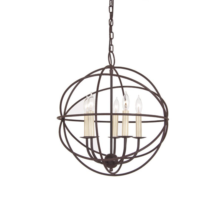 JVI Designs 18-in 5-Light Rust Wrought Iron Globe Chandelier