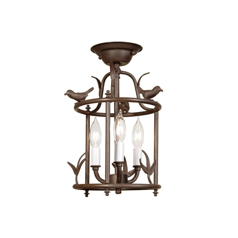 JVI Designs Bird 8.5-in W Rust Glass Semi-Flush Mount Light