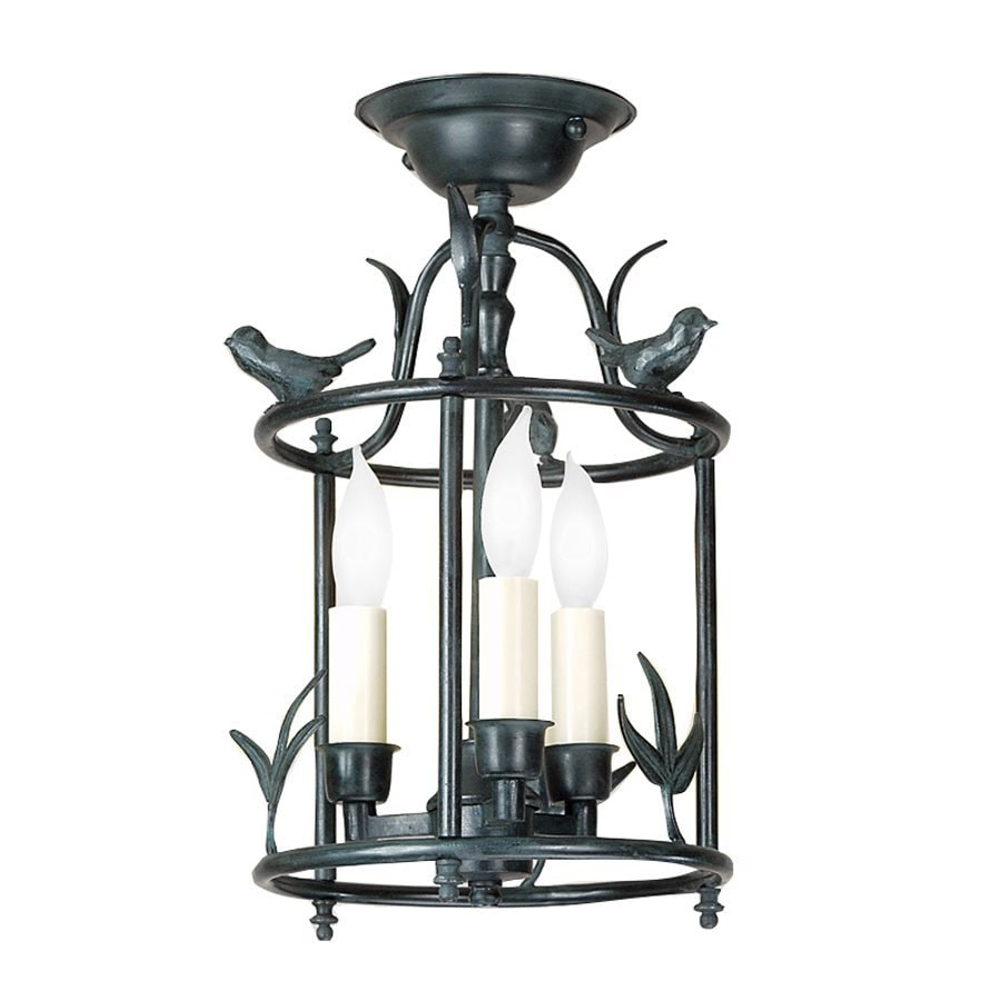 JVI Designs Bird 8.5-in W Verde Glass Semi-Flush Mount Light
