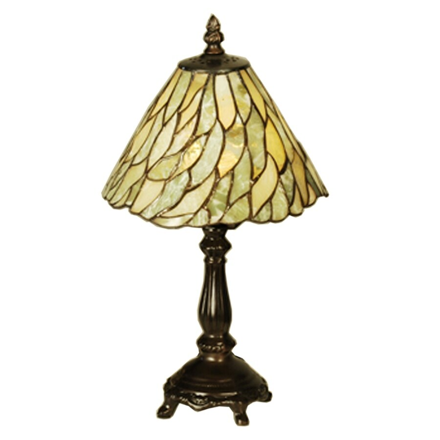 13 in mahogany bronze tiffany style indoor table lamp with stone shade. Black Bedroom Furniture Sets. Home Design Ideas