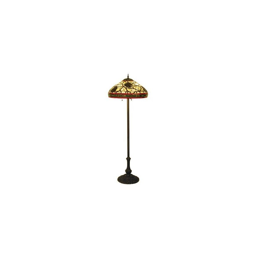 Meyda Tiffany 63-in Mahogany Bronze Tiffany-Style Floor Lamp with Glass Shade