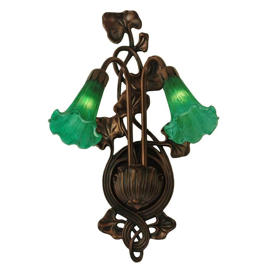 Meyda Tiffany Pond Lily 11-in W 2-Light Mahogany Bronze Arm Hardwired Wall Sconce