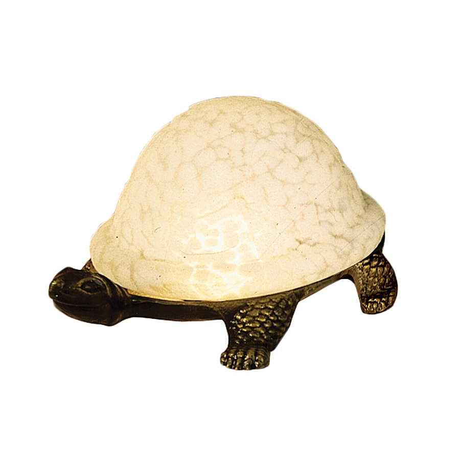 Meyda Tiffany Turtle 4-in Art Glass Standard Indoor Table Lamp with Glass Shade