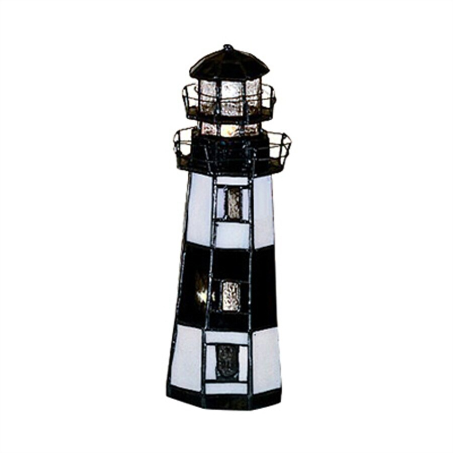 Meyda Tiffany Lighthouse 9.5-in Tiffany-Style Indoor Table Lamp with Glass Shade