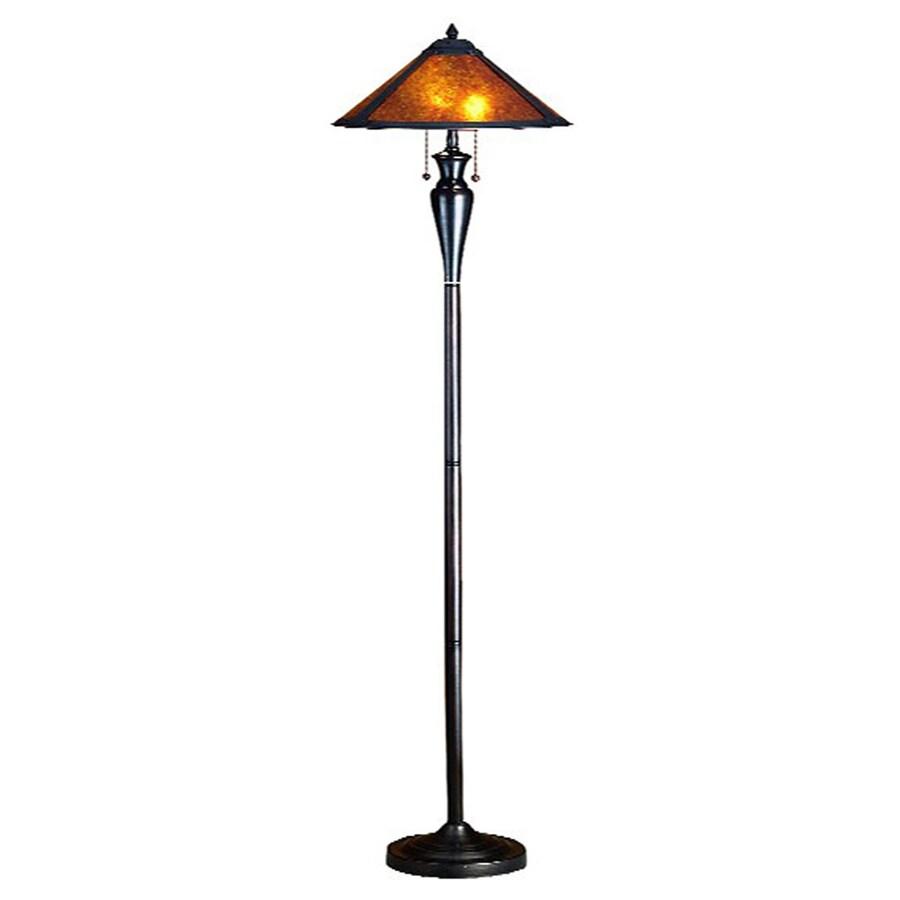 Meyda Tiffany Dirk Van Erp 65-in Mahogany Bronze Indoor Floor Lamp with Glass Shade