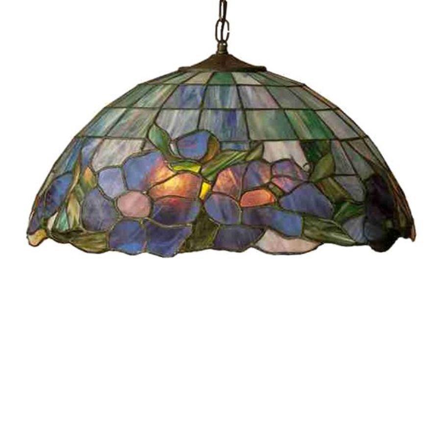 Meyda Tiffany Posy 20-in Mahogany Bronze Tiffany-Style Hardwired Single Stained Glass Dome Pendant