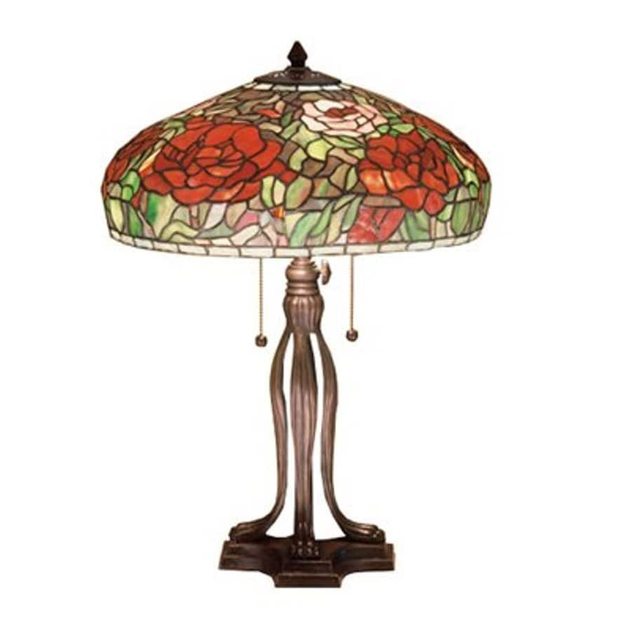 Meyda Tiffany 23.5-in Mahogany Bronze Indoor Table Lamp with Tiffany-Style Shade