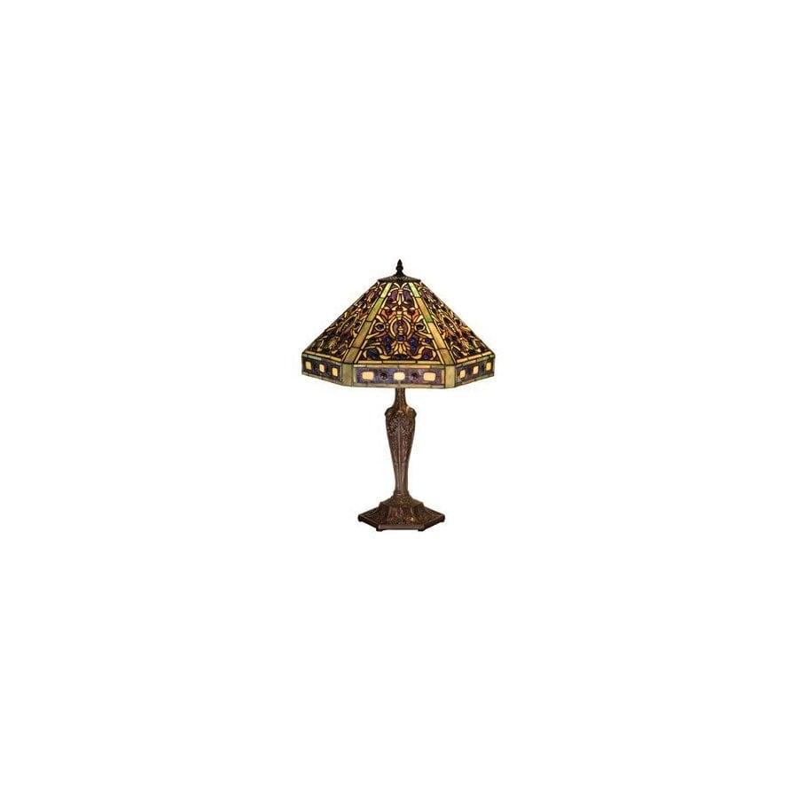 Meyda Tiffany 23-1/2-in Mahogany Bronze Tiffany-Style Table Lamp with Glass Shade