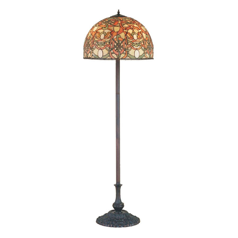 Meyda Tiffany 64-in Mahogany Bronze Tiffany-Style Indoor Floor Lamp with Glass Shade