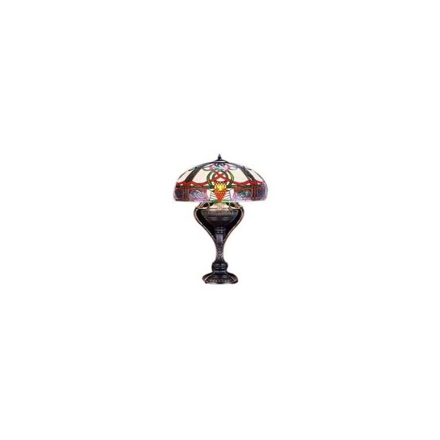Meyda Tiffany 27-in Mahogany Bronze Tiffany-Style Table Lamp with Glass Shade