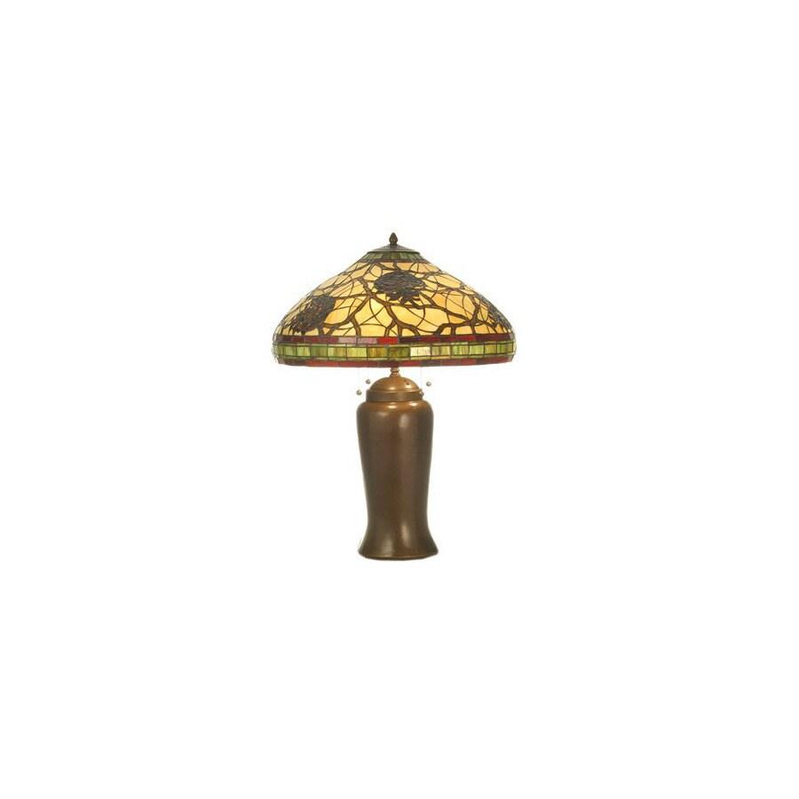 Meyda Tiffany 30-in Mahogany Bronze Tiffany-Style Table Lamp with Tiffany-Style Shade