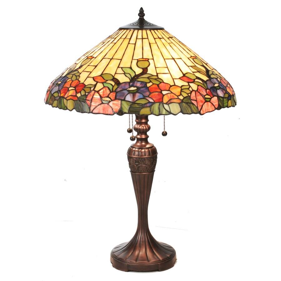 Meyda Tiffany 28-in Mahogany Bronze Indoor Table Lamp with Tiffany-Style Shade