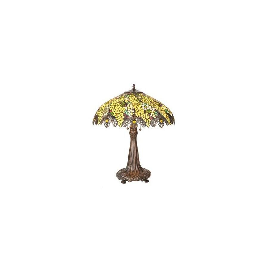 Meyda Tiffany 26-in Mahogany Bronze Tiffany-Style Table Lamp with Glass Shade