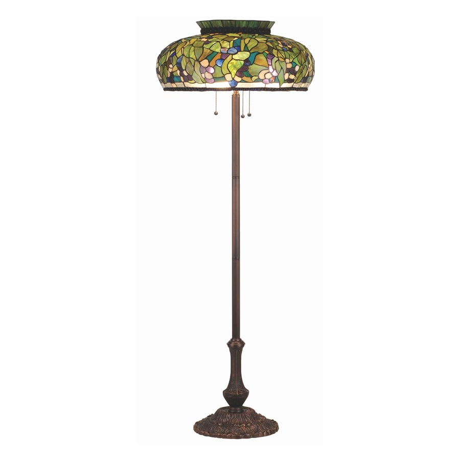 Meyda Tiffany 65-in Mahogany Bronze Tiffany-Style Indoor Floor Lamp with Glass Shade