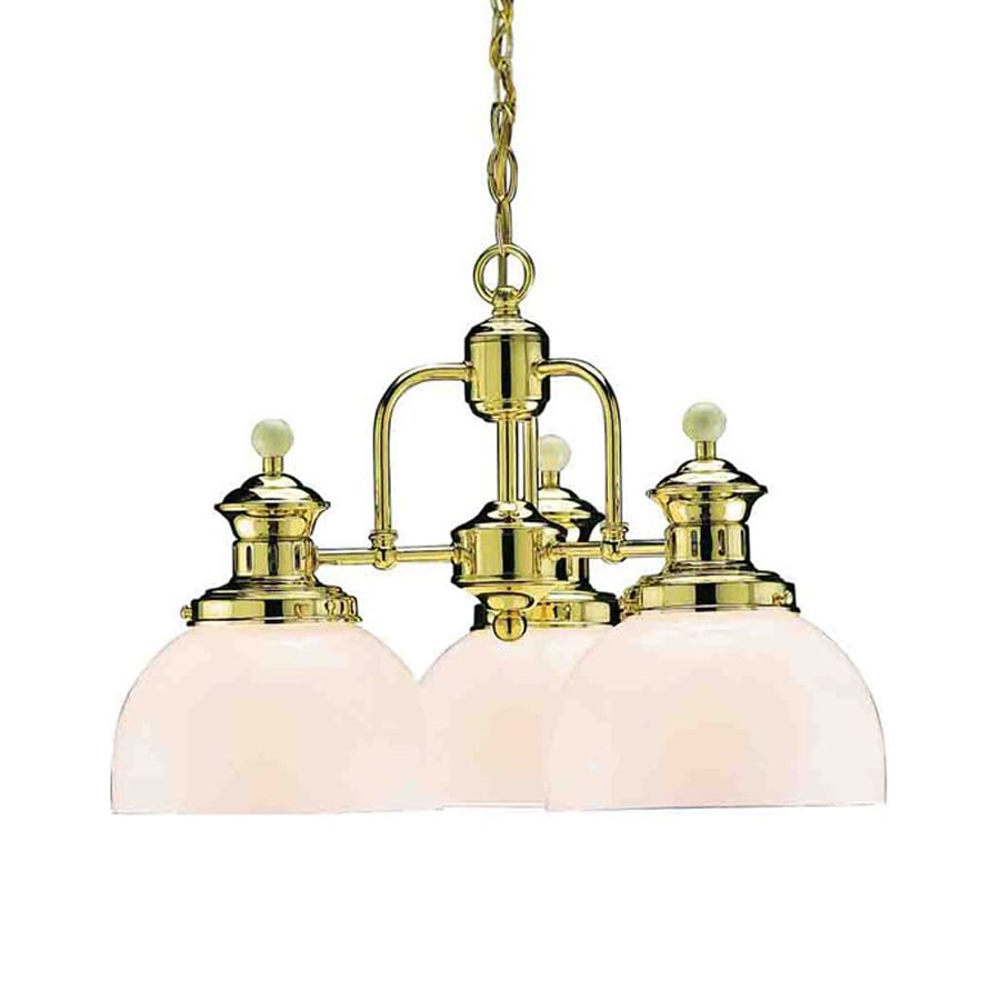 Volume International Aberdeen 18-in 3-Light Polished Brass Vintage Shaded Chandelier