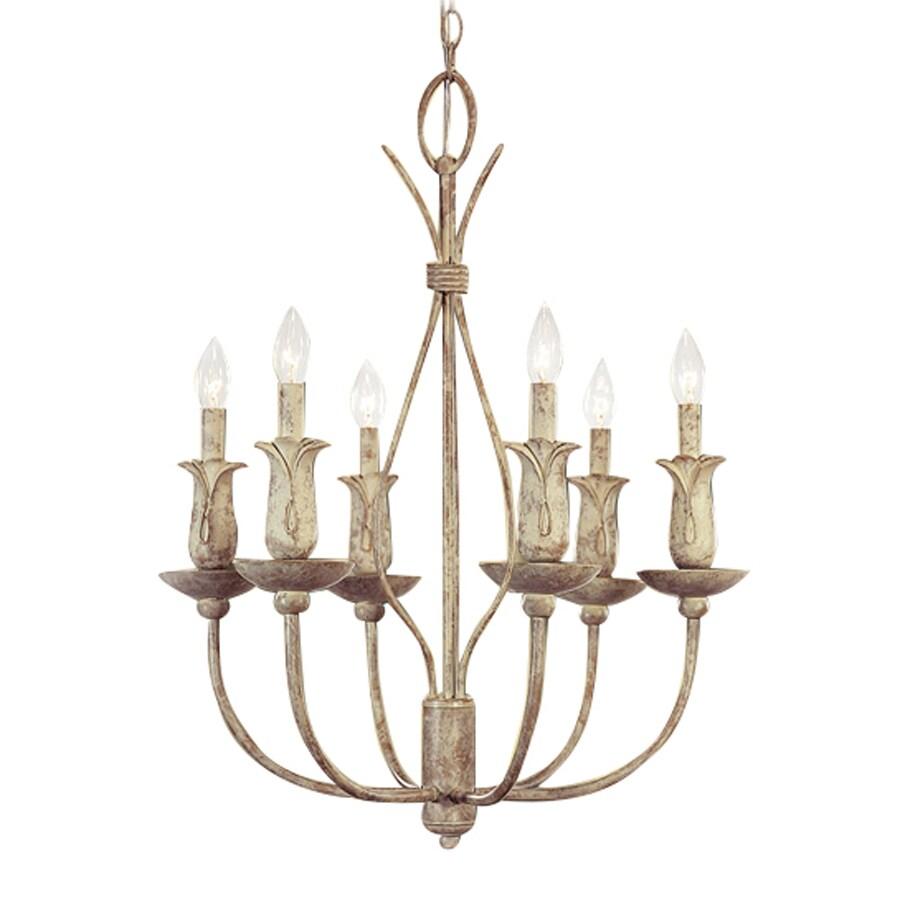 Volume International Lafayette 22-in 6-Light Castle Beige Rustic Candle Chandelier