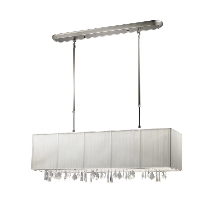 Z-Lite Casia 36-in W 4-Light Brushed Nickel Kitchen Island Light with Fabric Shade