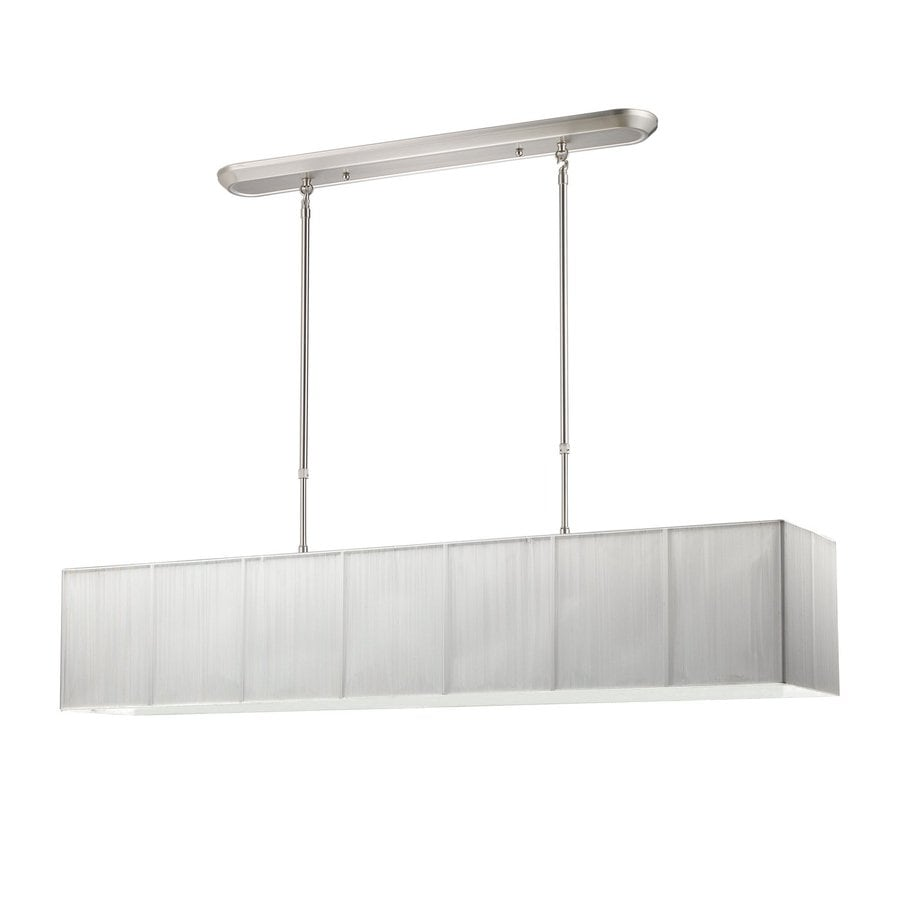 Z-Lite Casia 48-in W 5-Light Brushed Nickel Kitchen Island Light with White Fabric Shade