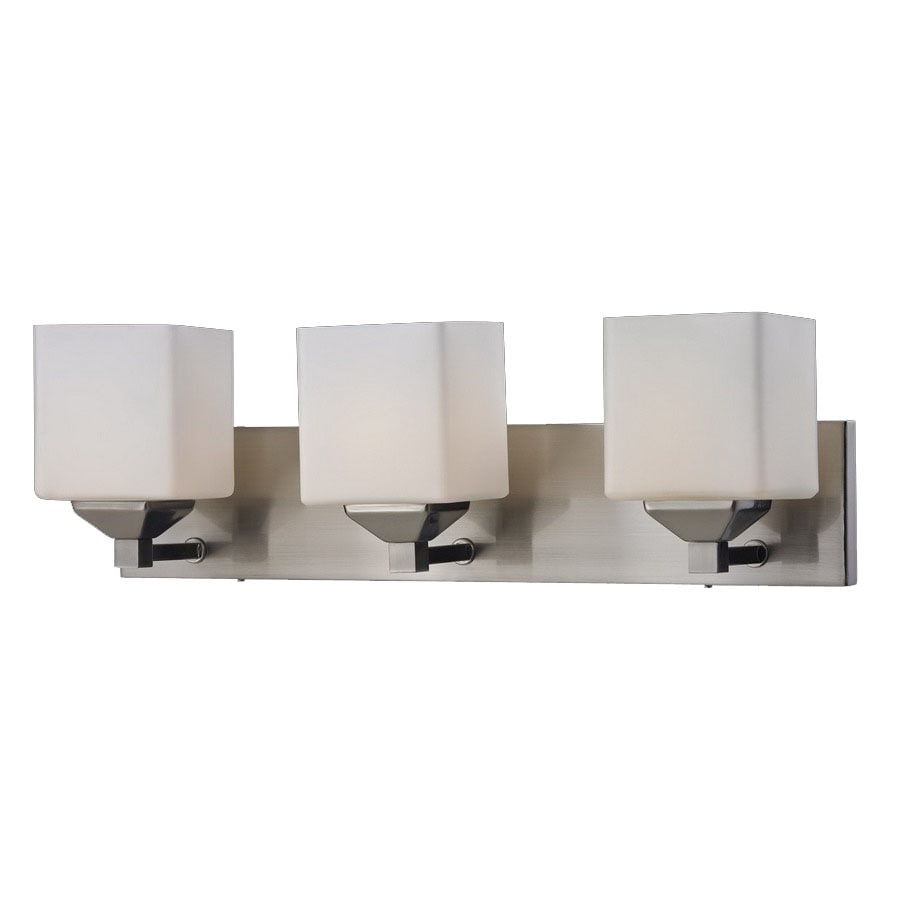 Vanity Lights Installation : Shop Z-Lite 3-Light Quube Brushed Nickel Bathroom Vanity Light at Lowes.com