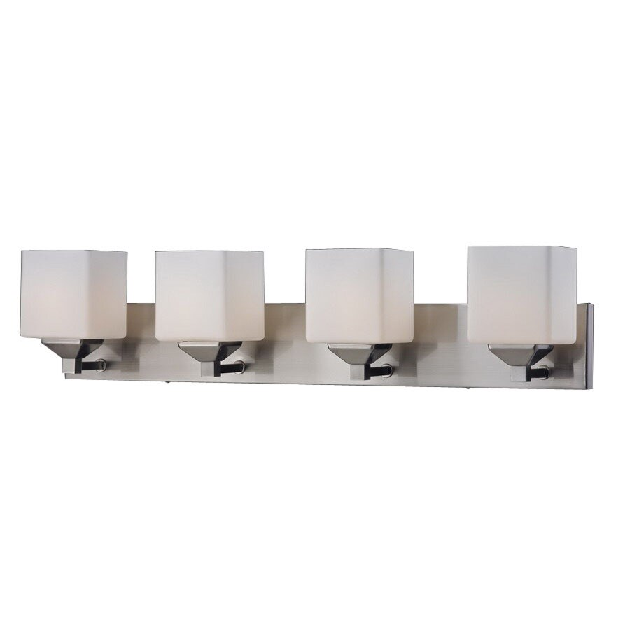 lite 4 light quube brushed nickel bathroom vanity light at. Black Bedroom Furniture Sets. Home Design Ideas