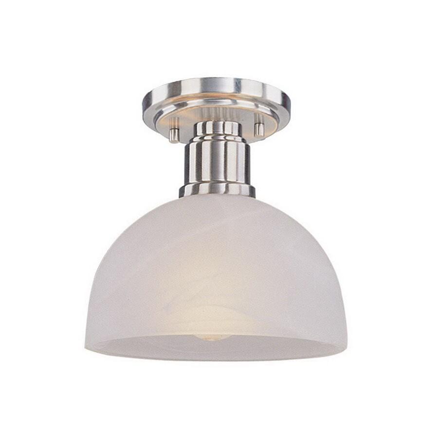 Z-Lite 8-in W Brushed Nickel Opalescent Glass Semi-Flush Mount Light