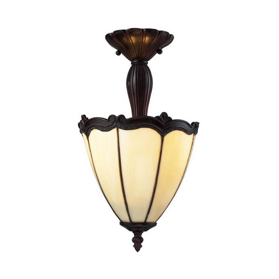Z-Lite 8-in W Chestnut Bronze Art Glass Semi-Flush Mount Ceiling Light