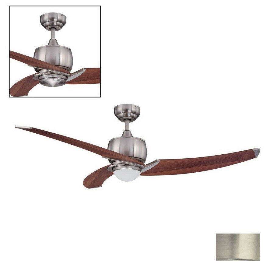Kendal Lighting 52-in Treo Satin Nickel Ceiling Fan with Light Kit and Remote