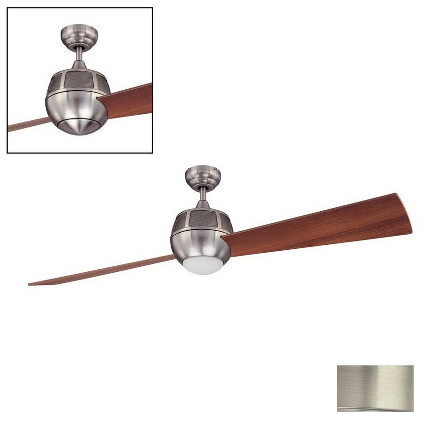 Kendal Lighting 60-in Ova Satin Nickel Ceiling Fan with Light Kit and Remote